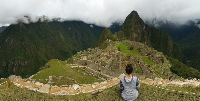 Taking a moment at Machu Picchu
